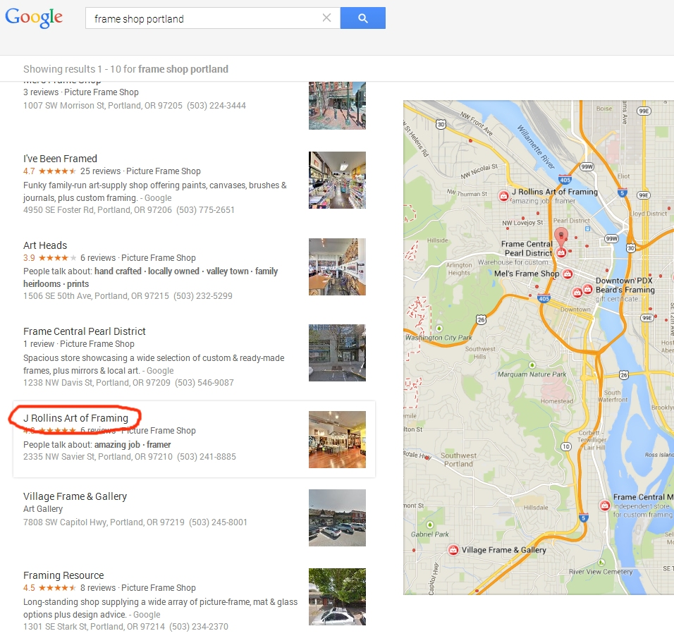 List of maps results in Google