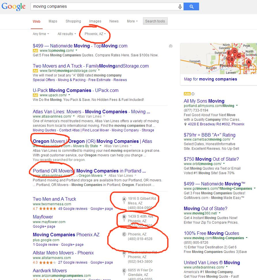 Mixed location results in Google search